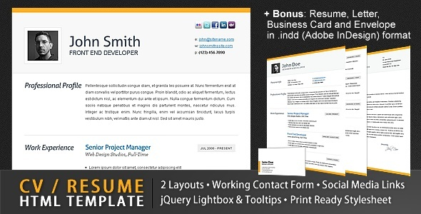 clean cv resume html template 4 bonuses resume in html format. Resume Example. Resume CV Cover Letter