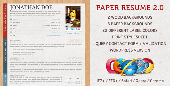 paper resume cv - Resume Paper Download