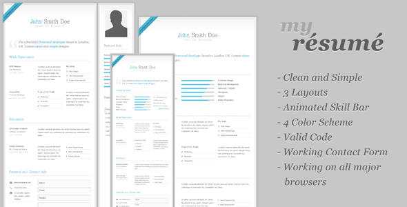 my resume clean cv resume template html others themeforest