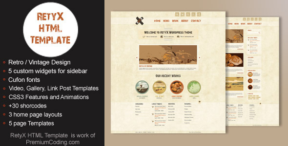 RetyX - HTML Retro / Vintage Website Template - HTML & Others ...