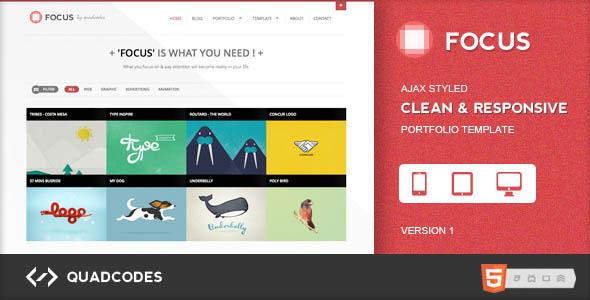 focus clean responsive portfolio template html others themeforest. Black Bedroom Furniture Sets. Home Design Ideas