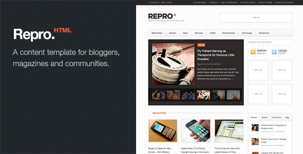 Repro - Premium News / Magazine HTML Template - HTML & Others ...