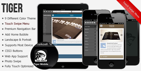 Tiger | jQuery Mobile Web Template & Web App - HTML & Others