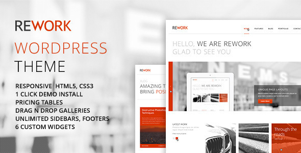 Modern WordPress Themes REWORK Responsive Modern WordPress Theme - Wordpress ...