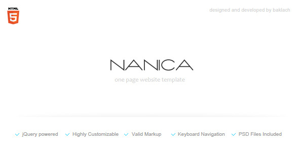 NANICA - One Page Portfolio Template - HTML & Others