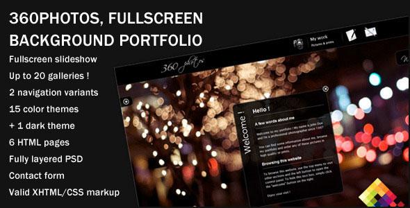 360 Photos - Fullscreen Background Themeforest Portfolio