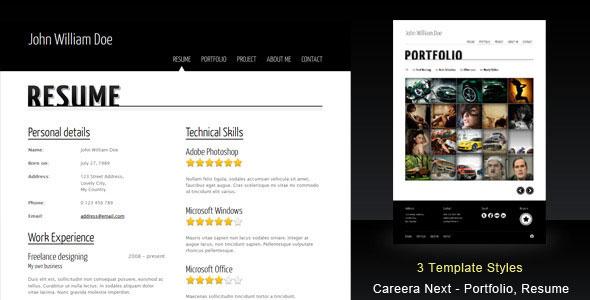 Careera Next U2013 ThemeForest Resume, Portfolio HTML Template  Portfolio For Resume