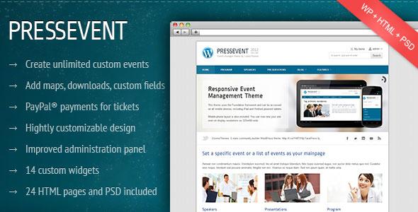 PressEvent - Event Management Themeforest Wordpress Theme ...