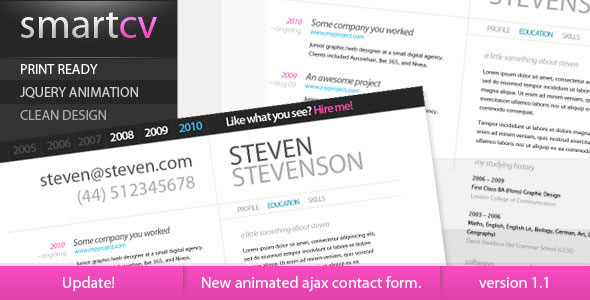 smart cv resume themeforest theme html others