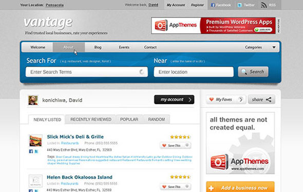 Vantage appthemes business directory theme wordpress appthemes vantage wordpress theme is specially created for social networking plus business directory theme from appthemes vantage theme is a powerful social accmission Images