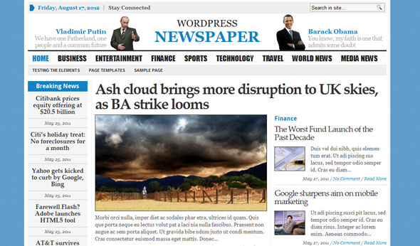 Wp newspaper gabfire premium wordpress template for News site template free download