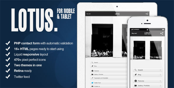 Lotus html5 jquery mobile and tablet template html for Jquerymobile template