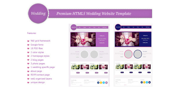 Wedding premium html5 css3 website template html for Html5 drop down menu template