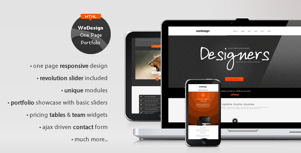 WeDesign - One Page Responsive Portfolio - HTML & Others