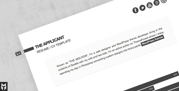 the applicant resume cv html template html others
