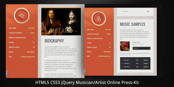 electronic press kit template free - musician artist html5 online press kit themeforest html