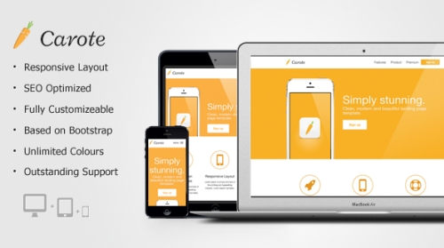 Carote Responsive App Landing Page Html Amp Others