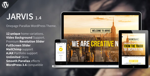 Jarvis - Themeforest Onepage Parallax WordPress Theme - Wordpress ...