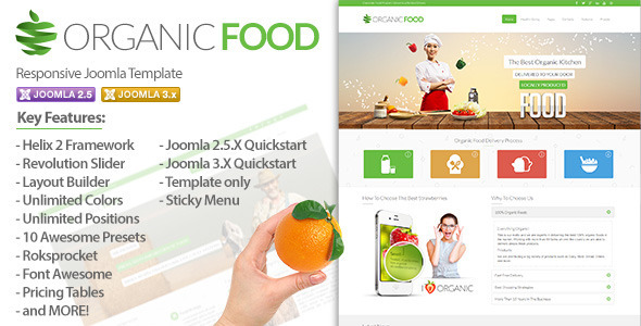 Organic Food Is A Clean And Modern Joomla 2 5 X 3 Template It S Based On Helix Framework Which Gives The Variety Of Features
